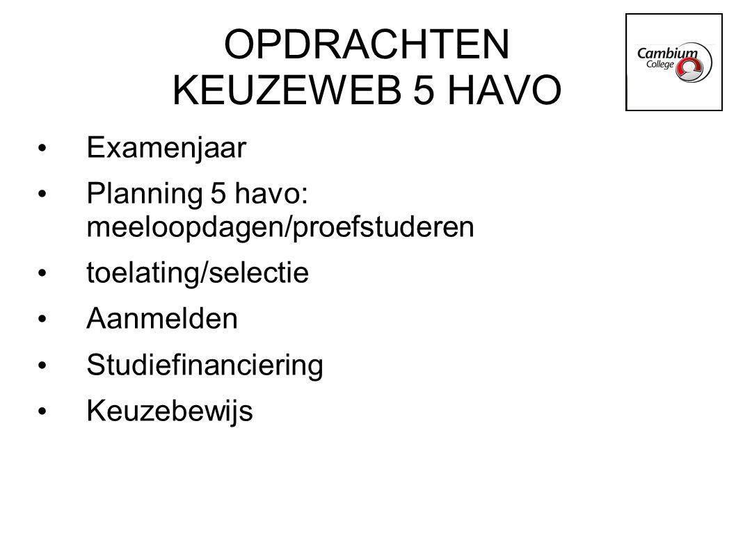 OPDRACHTEN KEUZEWEB 5 HAVO Examenjaar Planning 5 havo: meeloopdagen/proefstuderen toelating/selectie Aanmelden Studiefinanciering Keuzebewijs