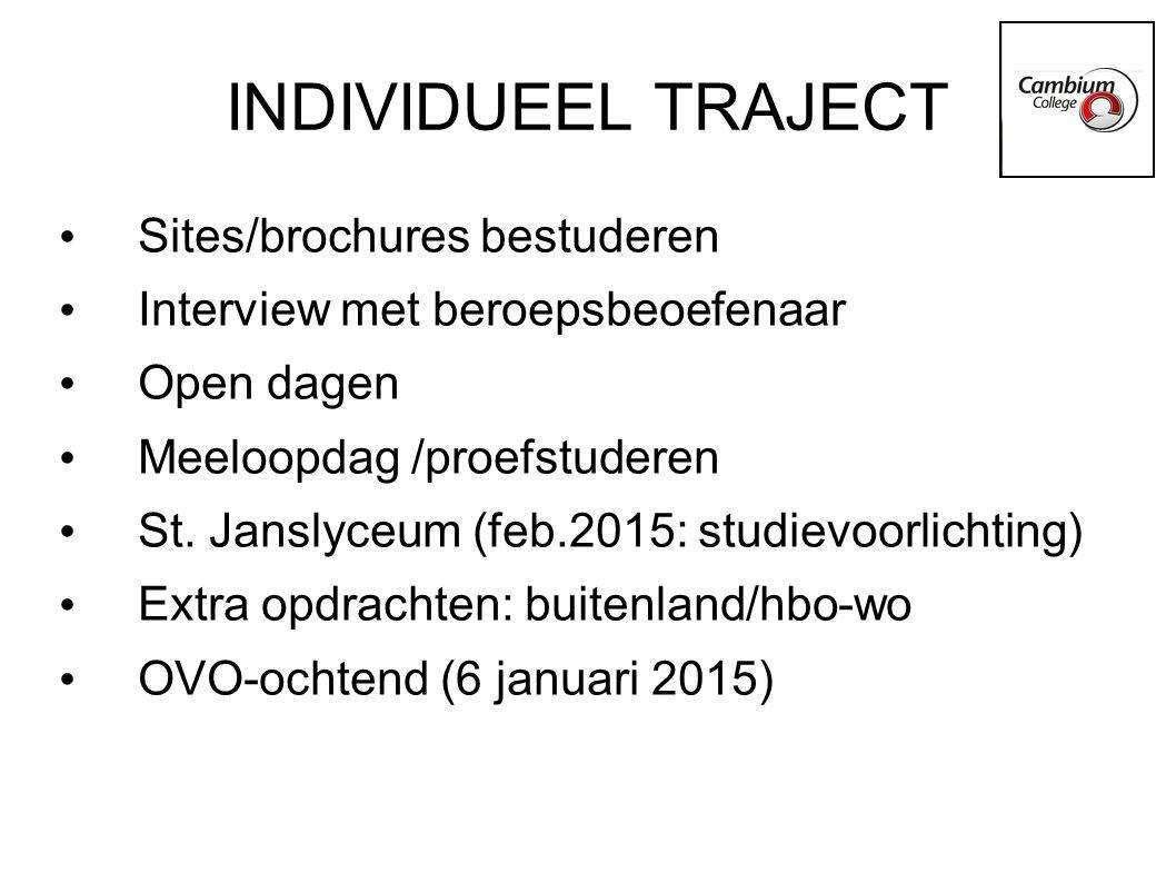 INDIVIDUEEL TRAJECT Sites/brochures bestuderen Interview met beroepsbeoefenaar Open dagen Meeloopdag /proefstuderen St. Janslyceum (feb.2015: studievo