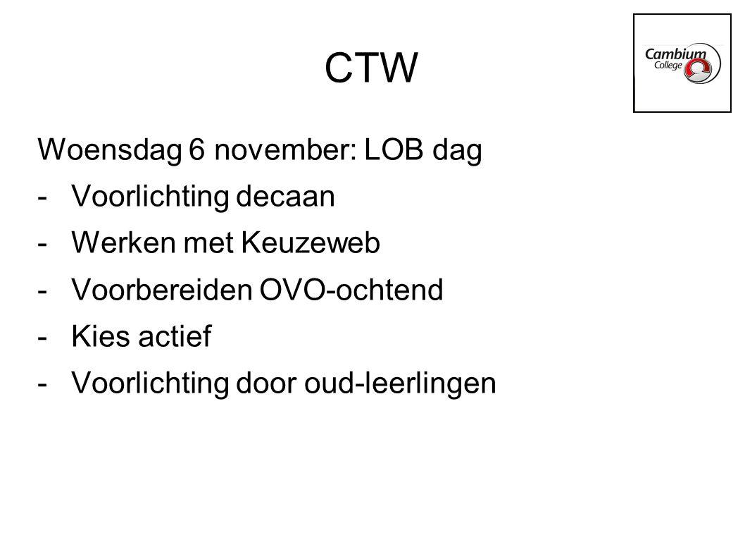 CTW Woensdag 6 november: LOB dag -Voorlichting decaan -Werken met Keuzeweb -Voorbereiden OVO-ochtend -Kies actief -Voorlichting door oud-leerlingen