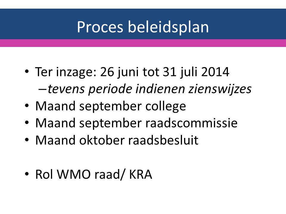 Proces beleidsplan Ter inzage: 26 juni tot 31 juli 2014 – tevens periode indienen zienswijzes Maand september college Maand september raadscommissie Maand oktober raadsbesluit Rol WMO raad/ KRA