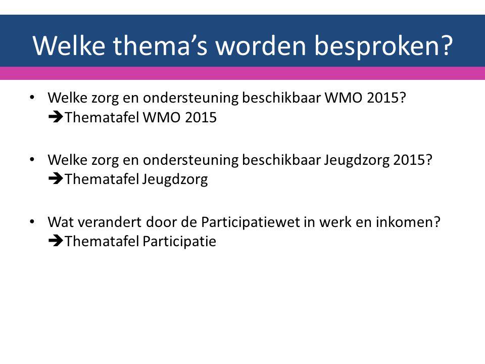 Welke thema's worden besproken. Welke zorg en ondersteuning beschikbaar WMO 2015.