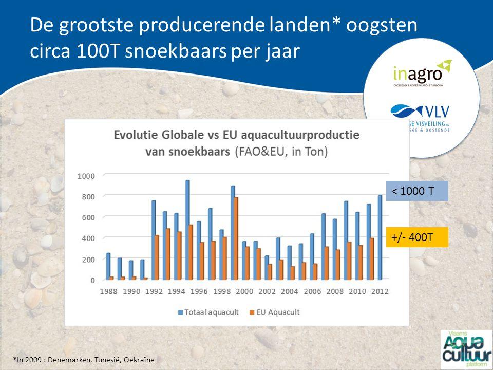 De grootste producerende landen* oogsten circa 100T snoekbaars per jaar < 1000 T +/- 400T *In 2009 : Denemarken, Tunesië, Oekraïne