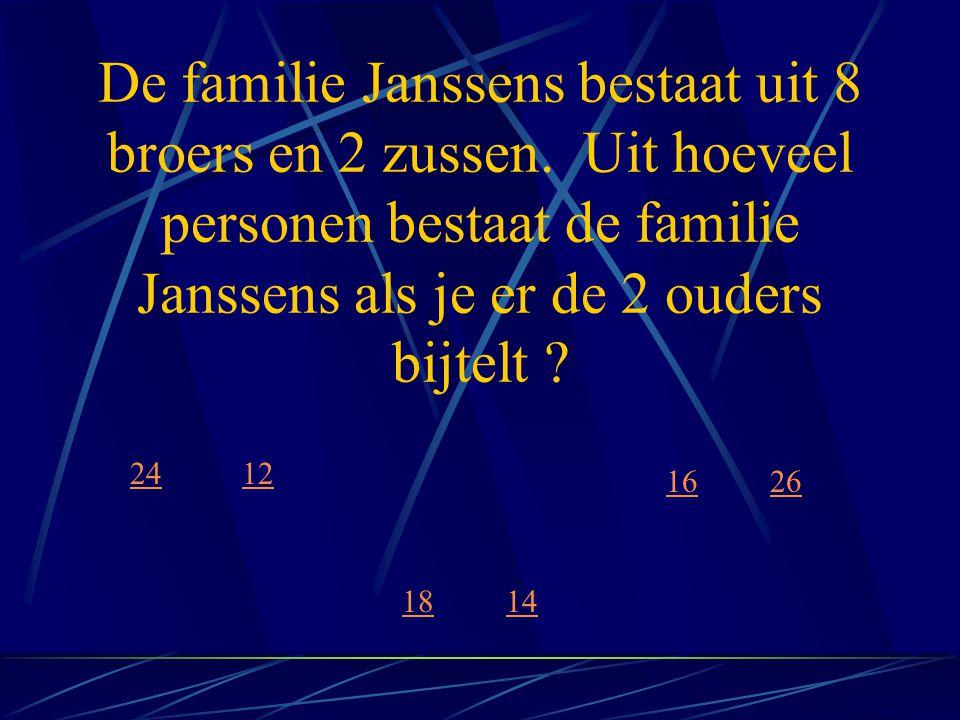 De familie Janssens bestaat uit 8 broers en 2 zussen. Uit hoeveel personen bestaat de familie Janssens als je er de 2 ouders bijtelt ? 12 14 16 18 24