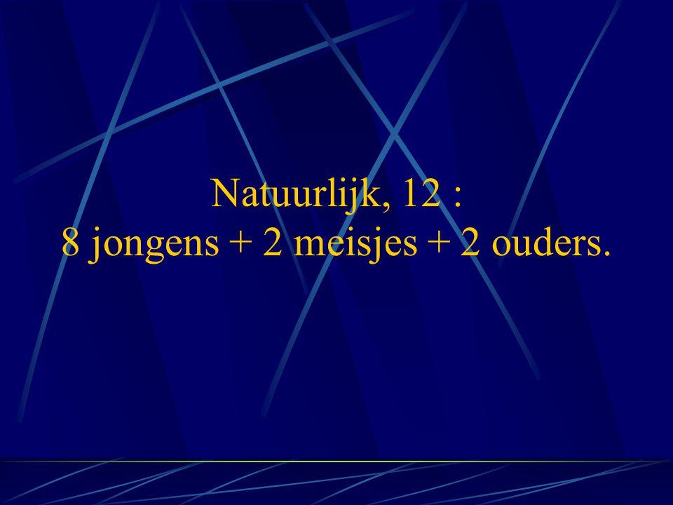 Natuurlijk, 12 : 8 jongens + 2 meisjes + 2 ouders.