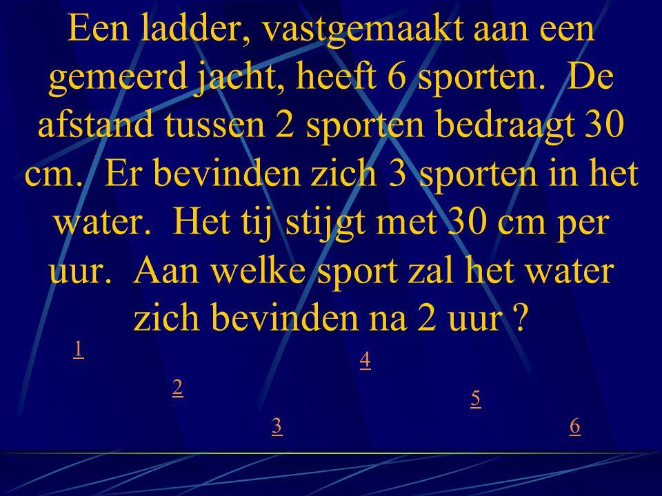 Een ladder, vastgemaakt aan een gemeerd jacht, heeft 6 sporten. De afstand tussen 2 sporten bedraagt 30 cm. Er bevinden zich 3 sporten in het water. H