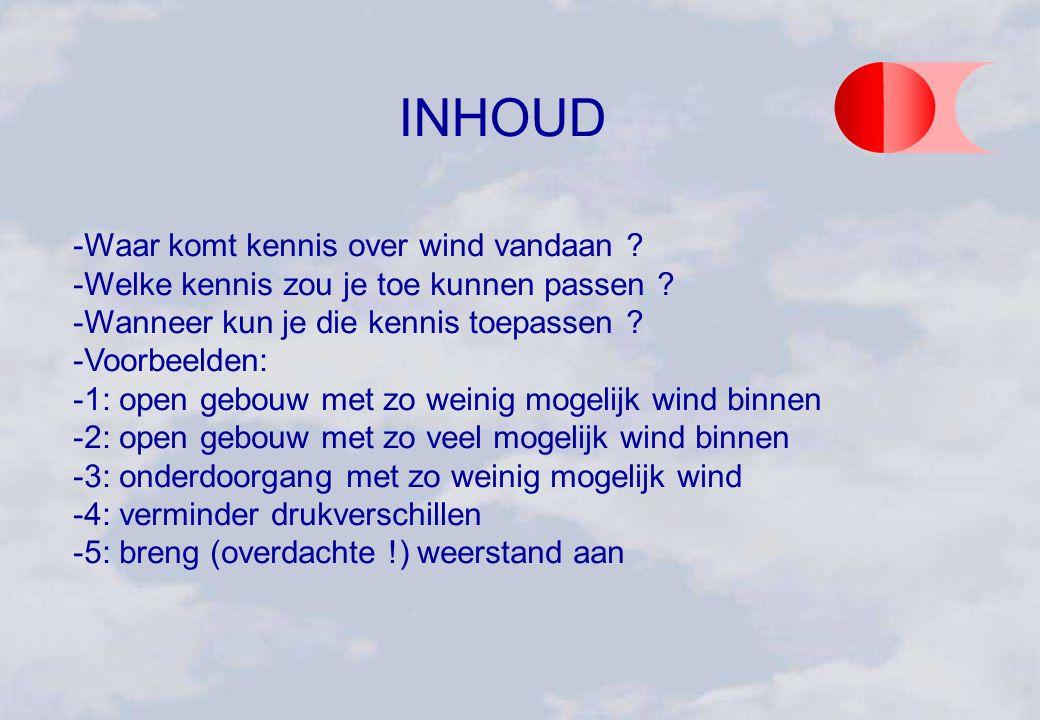 INHOUD Waar komt kennis over wind vandaan ? Welke kennis zou je toe kunnen passen ? Wanneer kun je die kennis toepassen ? Voorbeelden: 1: open ge