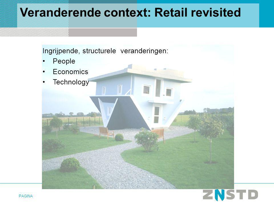 PAGINA Veranderende context: Retail revisited Ingrijpende, structurele veranderingen: People Economics Technology