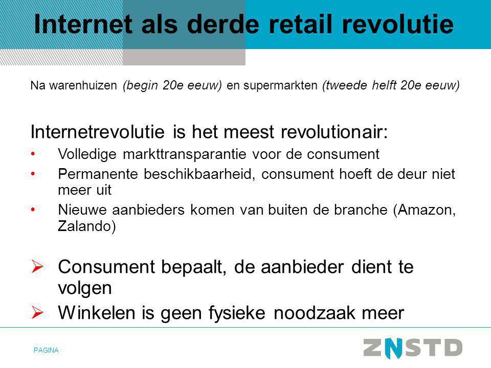 PAGINA Internet als derde retail revolutie Na warenhuizen (begin 20e eeuw) en supermarkten (tweede helft 20e eeuw) Internetrevolutie is het meest revo