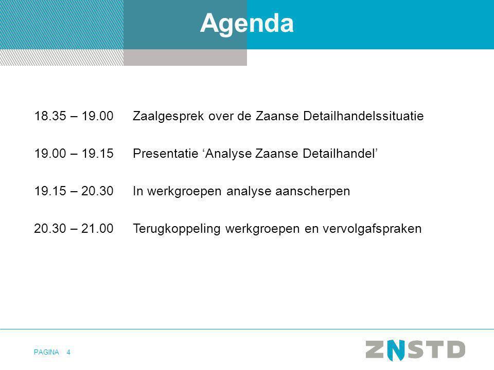 PAGINA Agenda 18.35 – 19.00Zaalgesprek over de Zaanse Detailhandelssituatie 19.00 – 19.15Presentatie 'Analyse Zaanse Detailhandel' 19.15 – 20.30 In we