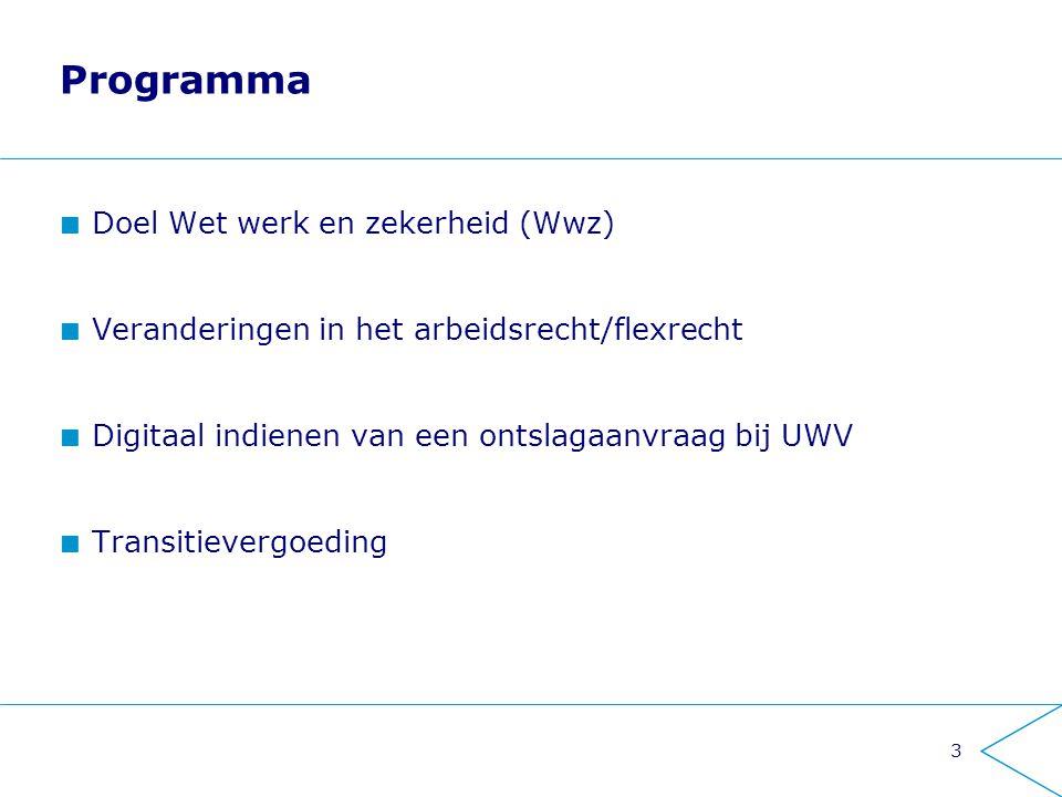 Programma Doel Wet werk en zekerheid (Wwz) Veranderingen in het arbeidsrecht/flexrecht Digitaal indienen van een ontslagaanvraag bij UWV Transitieverg