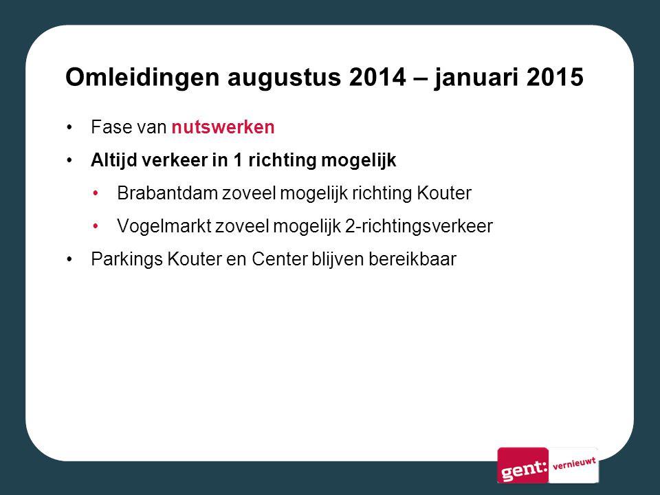 Omleidingen augustus 2014 – januari 2015 Fase van nutswerken Altijd verkeer in 1 richting mogelijk Brabantdam zoveel mogelijk richting Kouter Vogelmarkt zoveel mogelijk 2-richtingsverkeer Parkings Kouter en Center blijven bereikbaar