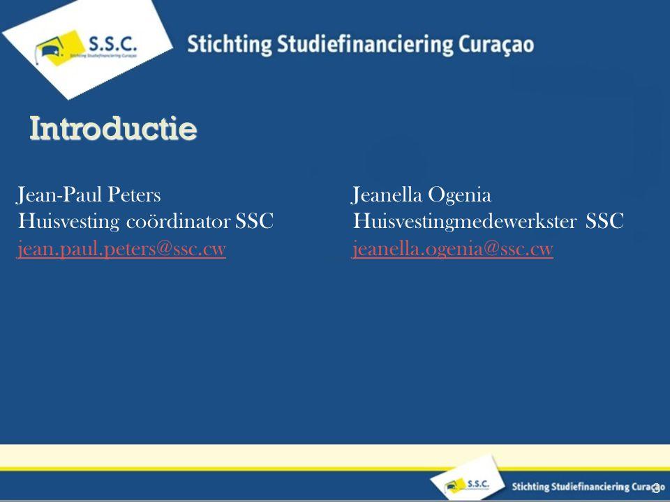Jean-Paul PetersJeanella Ogenia Huisvesting coördinator SSCHuisvestingmedewerkster SSC jean.paul.peters@ssc.cwjeanella.ogenia@ssc.cw 3 Introductie