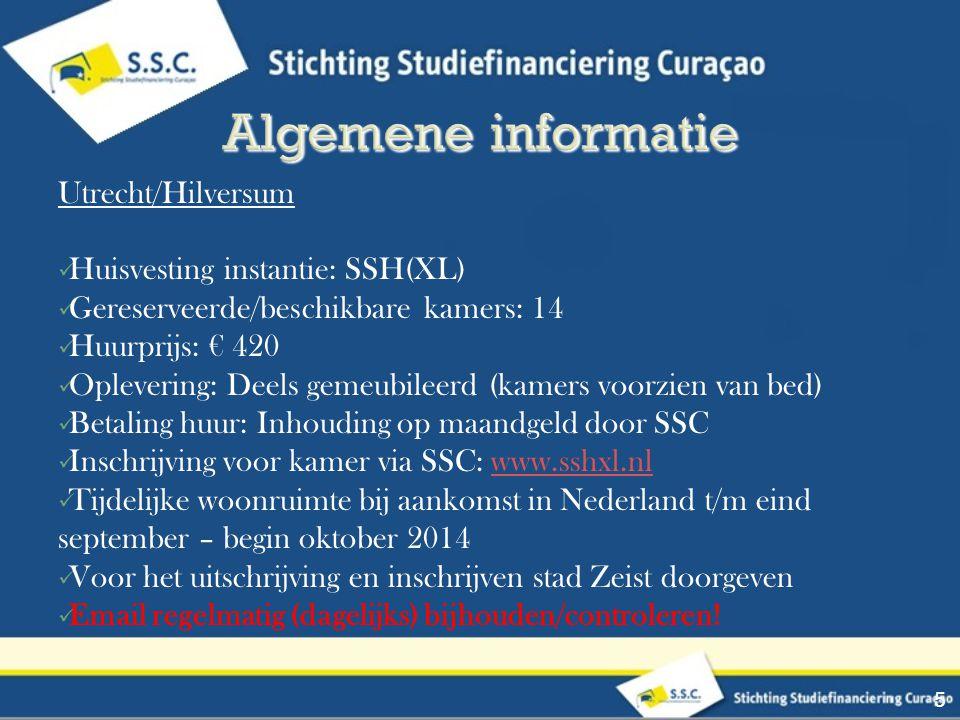 Utrecht/Hilversum Huisvesting instantie: SSH(XL) Gereserveerde/beschikbare kamers: 14 Huurprijs: € 420 Oplevering: Deels gemeubileerd (kamers voorzien