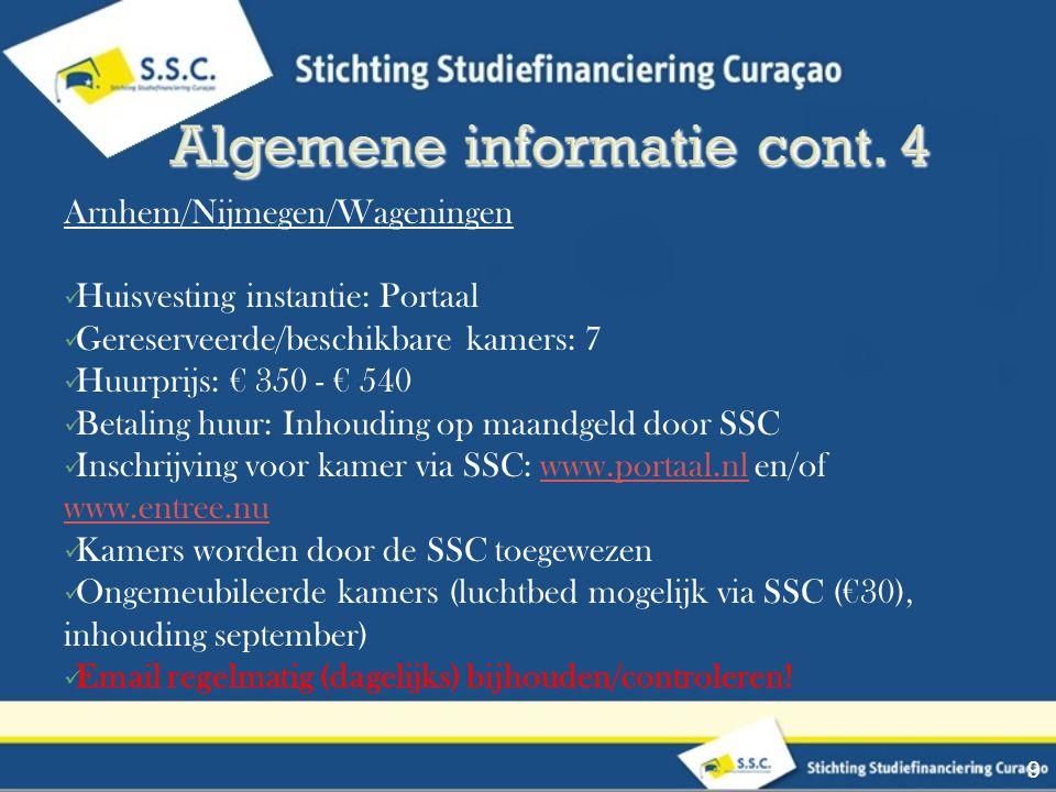 Arnhem/Nijmegen/Wageningen Huisvesting instantie: Portaal Gereserveerde/beschikbare kamers: 7 Huurprijs: € 350 - € 540 Betaling huur: Inhouding op maa