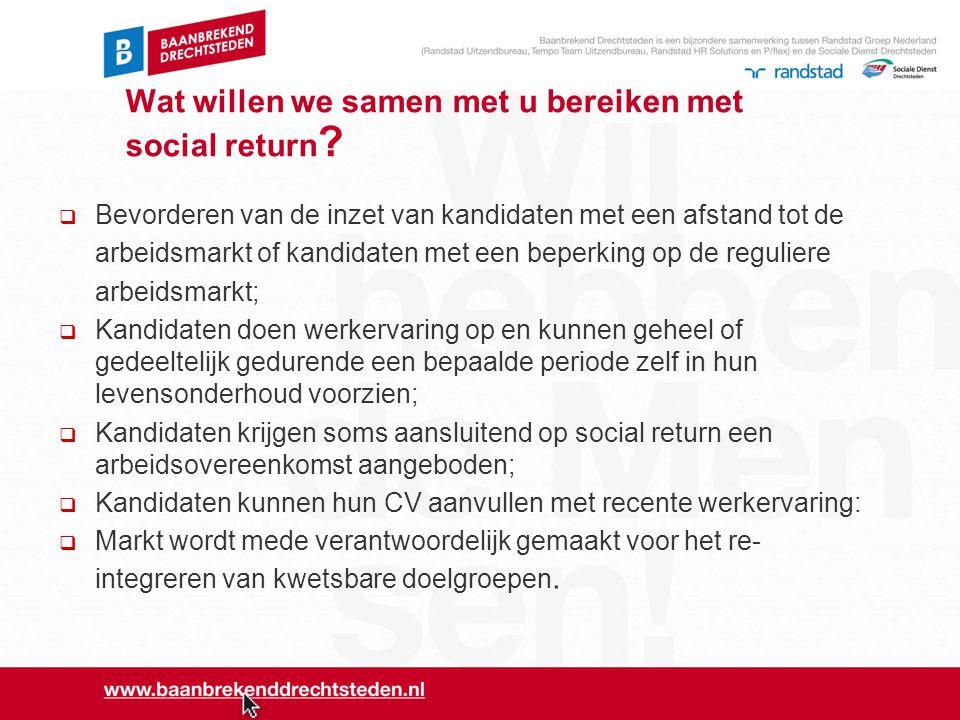 Wat willen we samen met u bereiken met social return ?  Bevorderen van de inzet van kandidaten met een afstand tot de arbeidsmarkt of kandidaten met