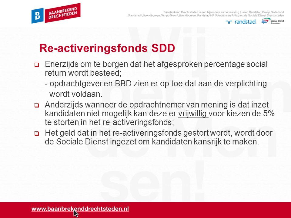 Re-activeringsfonds SDD  Enerzijds om te borgen dat het afgesproken percentage social return wordt besteed; - opdrachtgever en BBD zien er op toe dat
