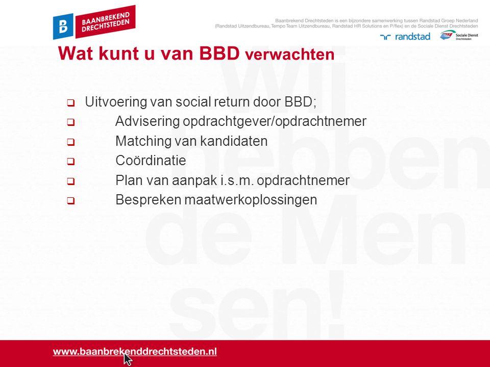 Wat kunt u van BBD verwachten  Uitvoering van social return door BBD;  Advisering opdrachtgever/opdrachtnemer  Matching van kandidaten  Coördinati