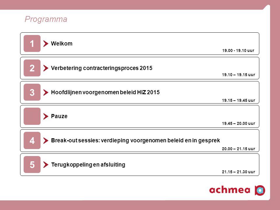 Programma 2 Verbetering contracteringsproces 2015 2 Hoofdlijnen voorgenomen beleid HIZ 2015 3 Pauze Break-out sessies: verdieping voorgenomen beleid en in gesprek 4 Welkom 1 Terugkoppeling en afsluiting 5 19.00 - 19.10 uur 19.10 – 19.15 uur 19.15 – 19.45 uur 19.45 – 20.00 uur 20.00 – 21.15 uur 21.15 – 21.30 uur