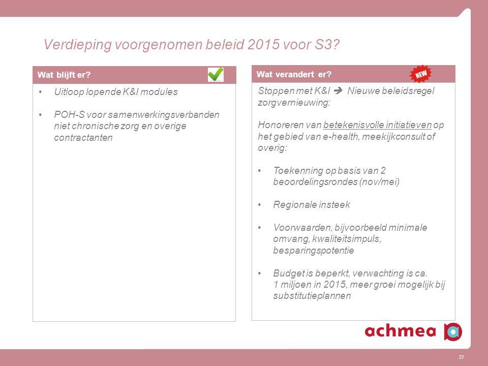 27 Verdieping voorgenomen beleid 2015 voor S3? Wat verandert er? Stoppen met K&I  Nieuwe beleidsregel zorgvernieuwing: Honoreren van betekenisvolle i