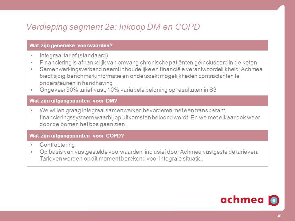 36 Verdieping segment 2a: Inkoop DM en COPD Wat zijn generieke voorwaarden? Integraal tarief (standaard) Financiering is afhankelijk van omvang chroni