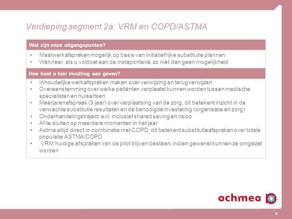 38 Verdieping segment 2a: VRM en COPD/ASTMA Wat zijn onze uitgangspunten? Maatwerkafspraken mogelijk op basis van initiatiefrijke substitutie plannen