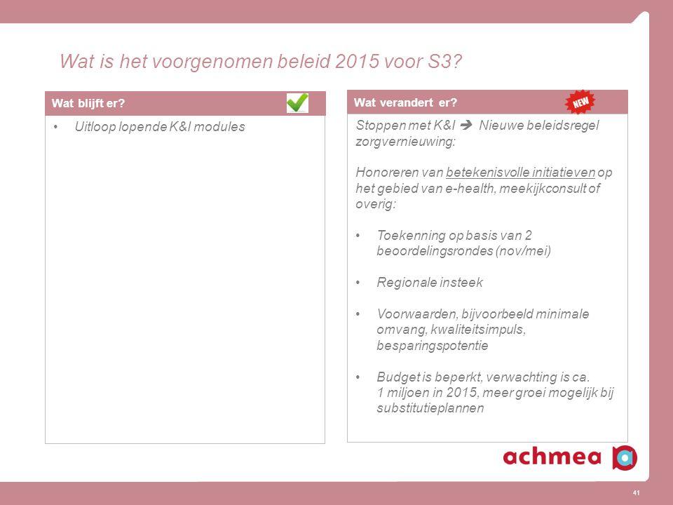 41 Wat is het voorgenomen beleid 2015 voor S3.Wat verandert er.