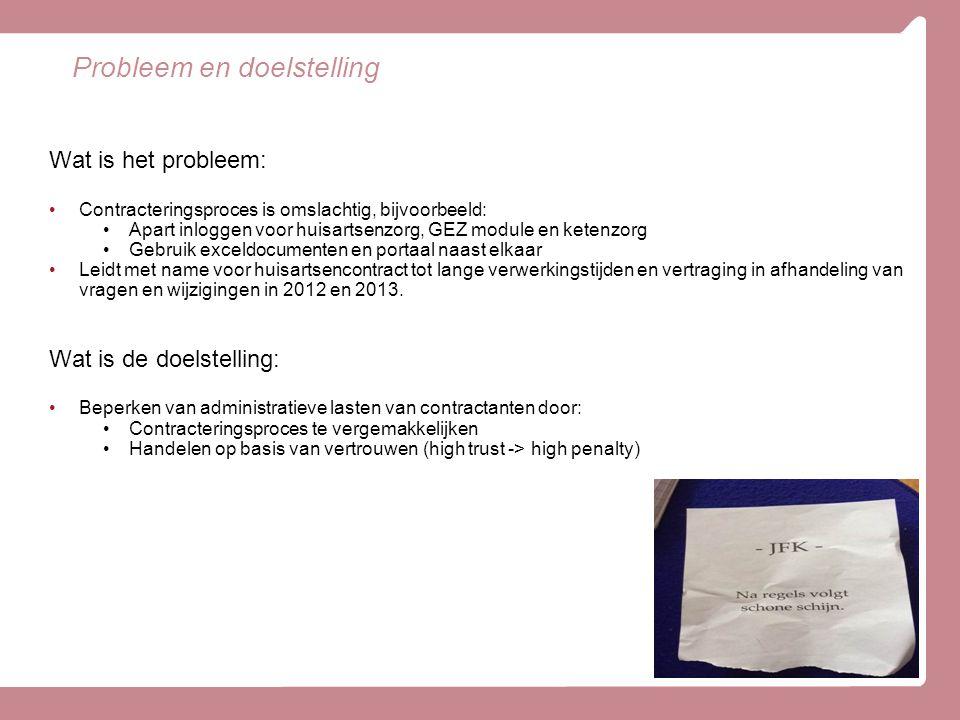 Probleem en doelstelling Wat is het probleem: Contracteringsproces is omslachtig, bijvoorbeeld: Apart inloggen voor huisartsenzorg, GEZ module en kete