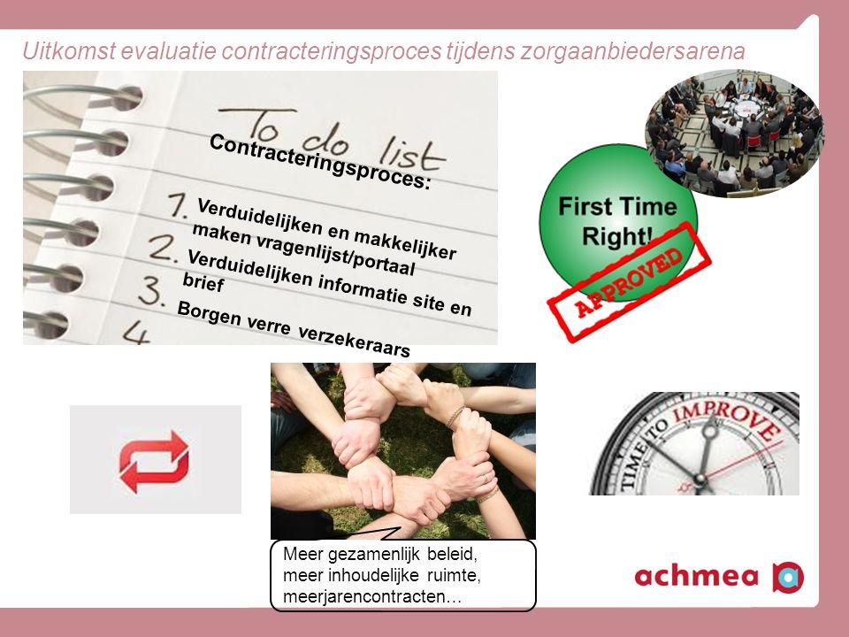 Uitkomst evaluatie contracteringsproces tijdens zorgaanbiedersarena Contracteringsproces: Verduidelijken en makkelijker maken vragenlijst/portaal Verd