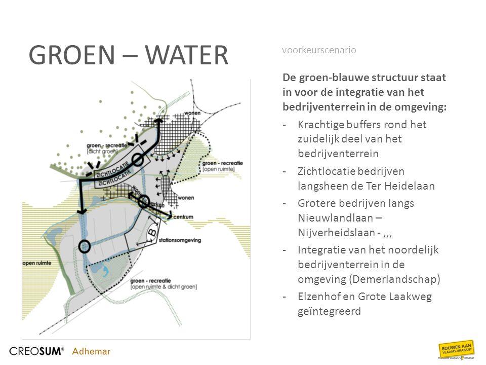 GROEN – WATER De groen-blauwe structuur staat in voor de integratie van het bedrijventerrein in de omgeving: -Krachtige buffers rond het zuidelijk dee
