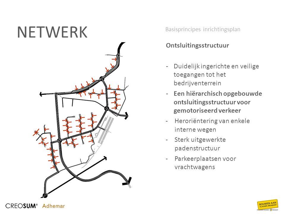 NETWERK Ontsluitingsstructuur -Duidelijk ingerichte en veilige toegangen tot het bedrijventerrein -Een hiërarchisch opgebouwde ontsluitingsstructuur v