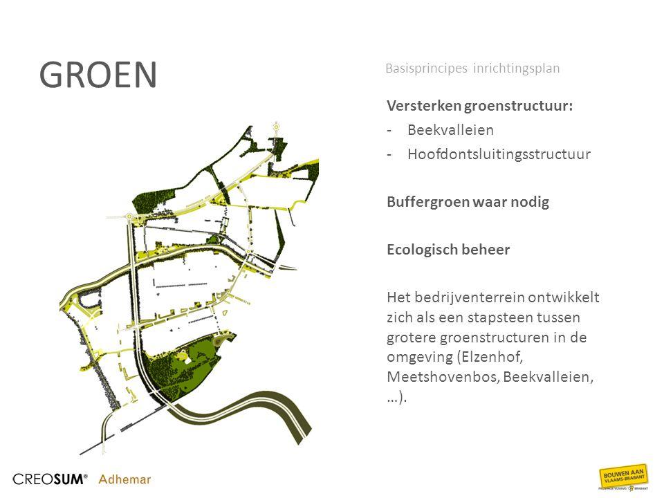 GROEN Versterken groenstructuur: -Beekvalleien -Hoofdontsluitingsstructuur Buffergroen waar nodig Ecologisch beheer Het bedrijventerrein ontwikkelt zi