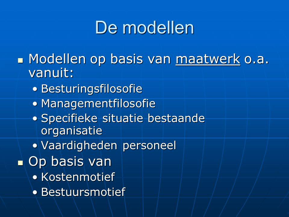 De modellen Modellen op basis van maatwerk o.a. vanuit: Modellen op basis van maatwerk o.a.