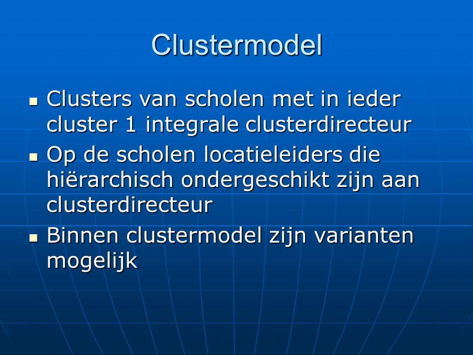 Clustermodel Clusters van scholen met in ieder cluster 1 integrale clusterdirecteur Clusters van scholen met in ieder cluster 1 integrale clusterdirecteur Op de scholen locatieleiders die hiërarchisch ondergeschikt zijn aan clusterdirecteur Op de scholen locatieleiders die hiërarchisch ondergeschikt zijn aan clusterdirecteur Binnen clustermodel zijn varianten mogelijk Binnen clustermodel zijn varianten mogelijk