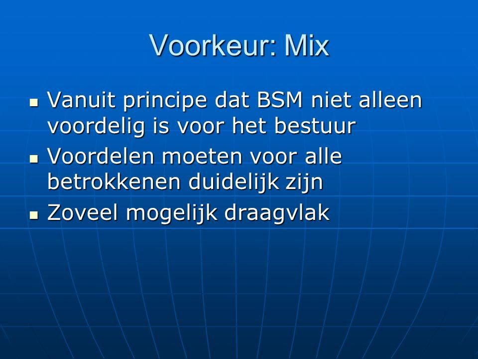 Voorkeur: Mix Vanuit principe dat BSM niet alleen voordelig is voor het bestuur Vanuit principe dat BSM niet alleen voordelig is voor het bestuur Voordelen moeten voor alle betrokkenen duidelijk zijn Voordelen moeten voor alle betrokkenen duidelijk zijn Zoveel mogelijk draagvlak Zoveel mogelijk draagvlak
