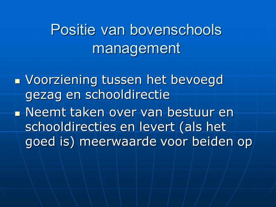 Positie van bovenschools management Voorziening tussen het bevoegd gezag en schooldirectie Voorziening tussen het bevoegd gezag en schooldirectie Neemt taken over van bestuur en schooldirecties en levert (als het goed is) meerwaarde voor beiden op Neemt taken over van bestuur en schooldirecties en levert (als het goed is) meerwaarde voor beiden op