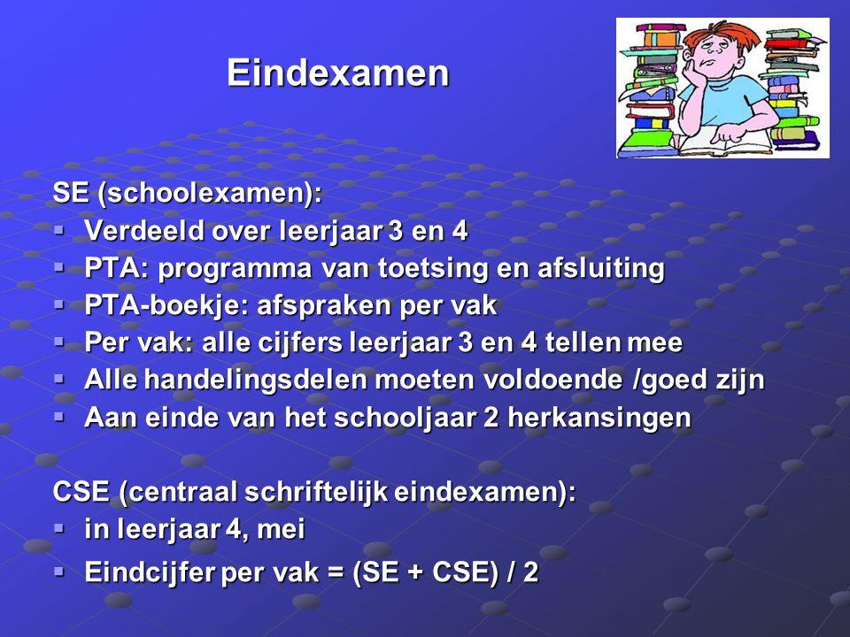 Eindexamen SE (schoolexamen):  Verdeeld over leerjaar 3 en 4  PTA: programma van toetsing en afsluiting  PTA-boekje: afspraken per vak  Per vak: a