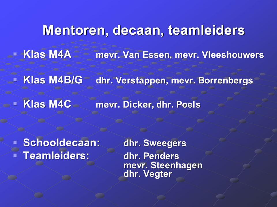 Mentoren, decaan, teamleiders Mentoren, decaan, teamleiders  Klas M4A mevr. Van Essen, mevr. Vleeshouwers  Klas M4B/G dhr. Verstappen, mevr. Borrenb