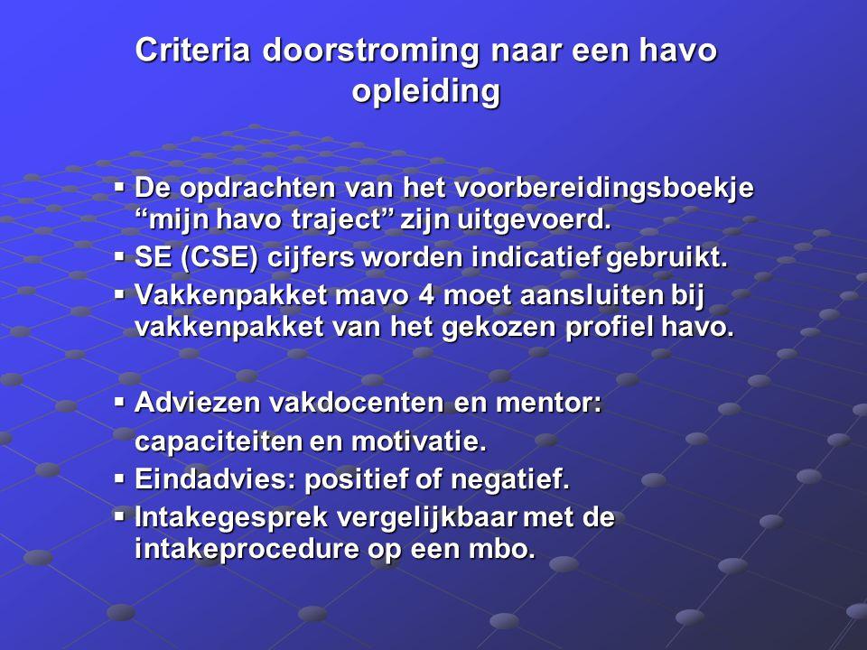 """Criteria doorstroming naar een havo opleiding  De opdrachten van het voorbereidingsboekje """"mijn havo traject"""" zijn uitgevoerd.  SE (CSE) cijfers wor"""