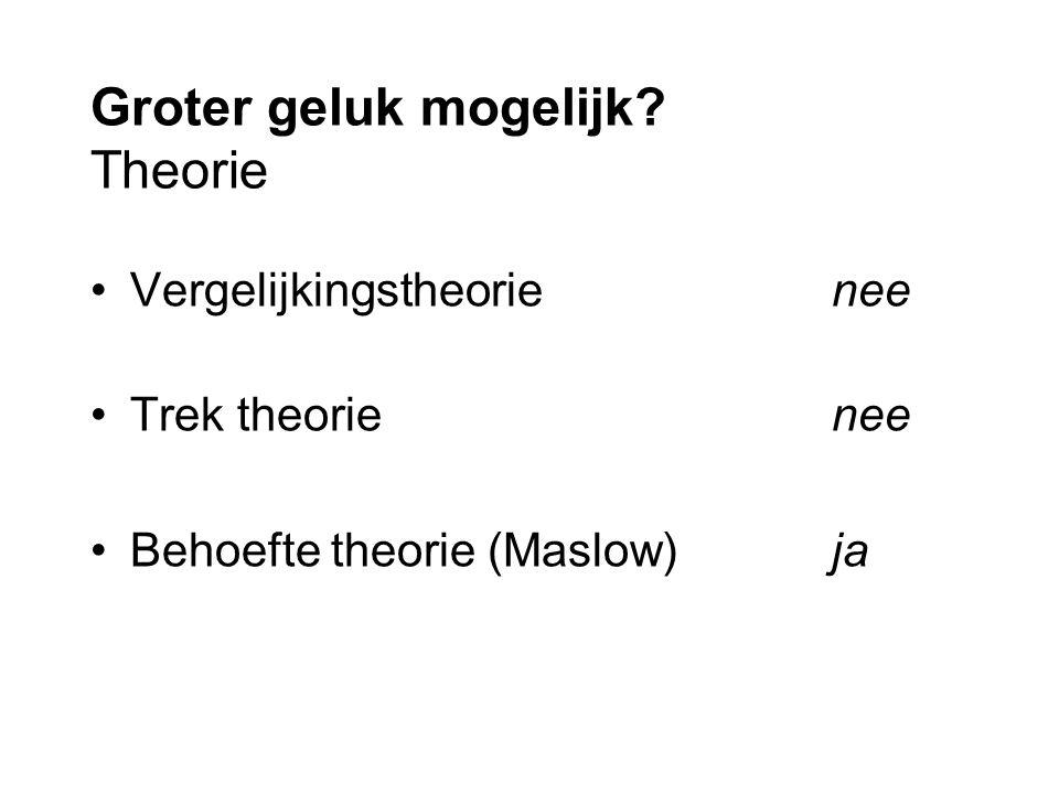 Groter geluk mogelijk Theorie Vergelijkingstheorienee Trek theorienee Behoefte theorie (Maslow)ja