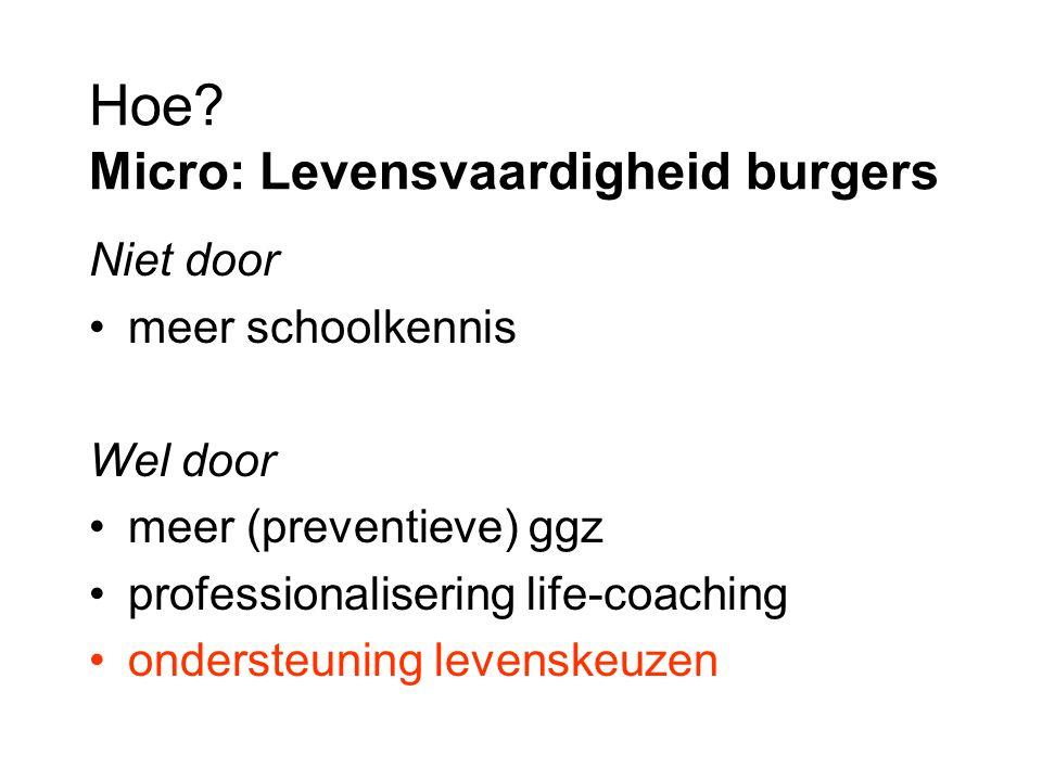 Hoe? Micro: Levensvaardigheid burgers Niet door meer schoolkennis Wel door meer (preventieve) ggz professionalisering life-coaching ondersteuning leve