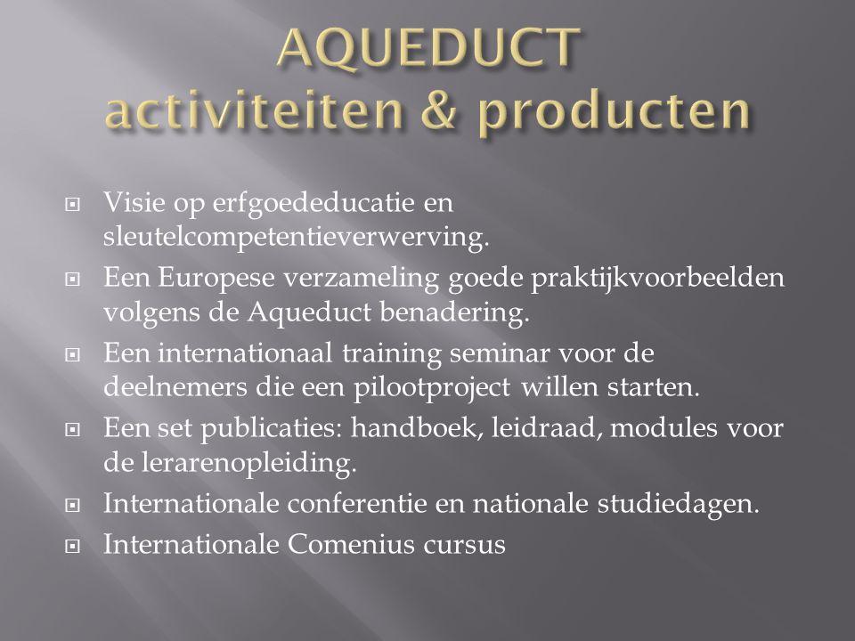  Visie op erfgoededucatie en sleutelcompetentieverwerving.  Een Europese verzameling goede praktijkvoorbeelden volgens de Aqueduct benadering.  Een
