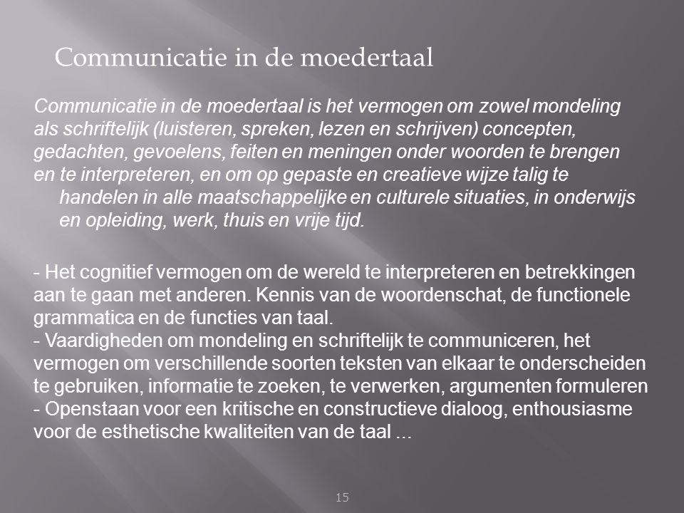 Communicatie in de moedertaal 15 Communicatie in de moedertaal is het vermogen om zowel mondeling als schriftelijk (luisteren, spreken, lezen en schri