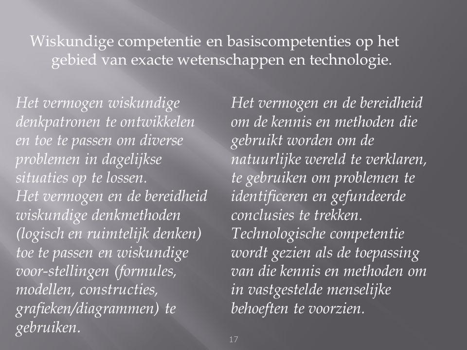 Wiskundige competentie en basiscompetenties op het gebied van exacte wetenschappen en technologie. 17 Het vermogen wiskundige denkpatronen te ontwikke