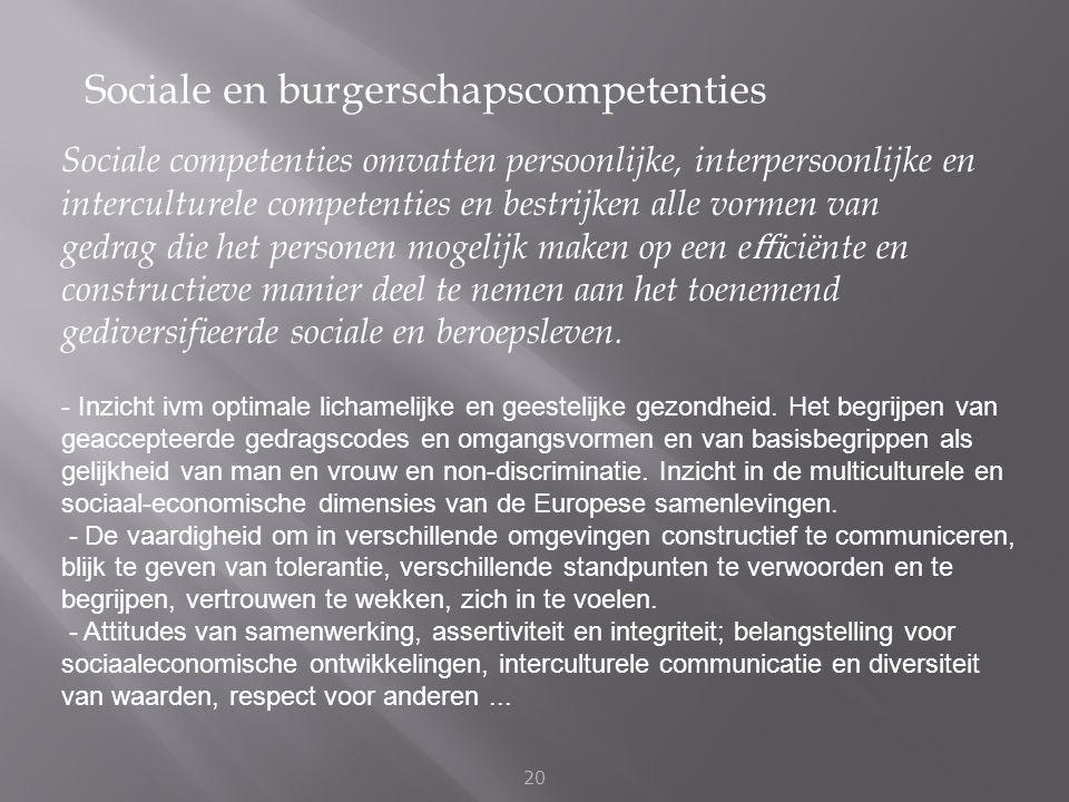 Sociale en burgerschapscompetenties 20 Sociale competenties omvatten persoonlijke, interpersoonlijke en interculturele competenties en bestrijken alle