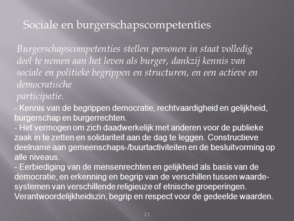 Sociale en burgerschapscompetenties 21 Burgerschapscompetenties stellen personen in staat volledig deel te nemen aan het leven als burger, dankzij ken