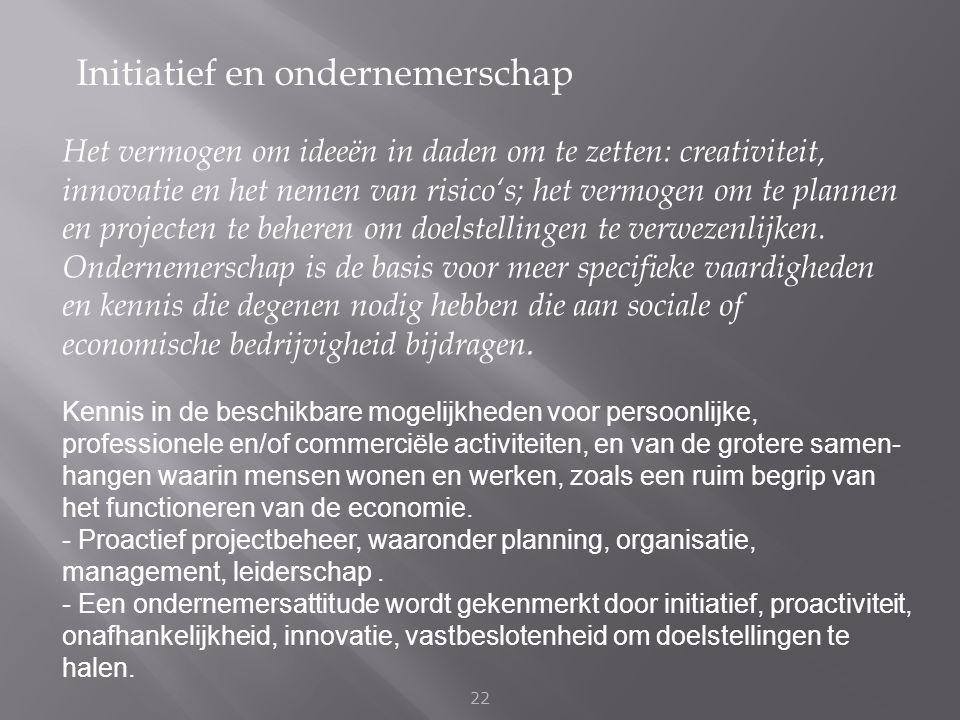 Initiatief en ondernemerschap 22 Het vermogen om ideeën in daden om te zetten: creativiteit, innovatie en het nemen van risico's; het vermogen om te p