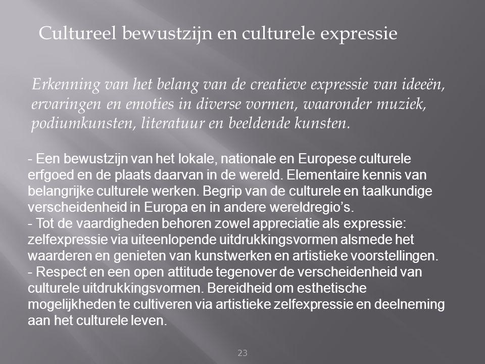 Cultureel bewustzijn en culturele expressie 23 Erkenning van het belang van de creatieve expressie van ideeën, ervaringen en emoties in diverse vormen