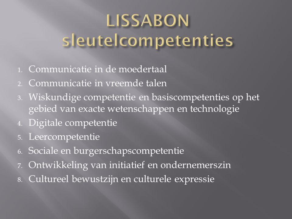 1. Communicatie in de moedertaal 2. Communicatie in vreemde talen 3. Wiskundige competentie en basiscompetenties op het gebied van exacte wetenschappe