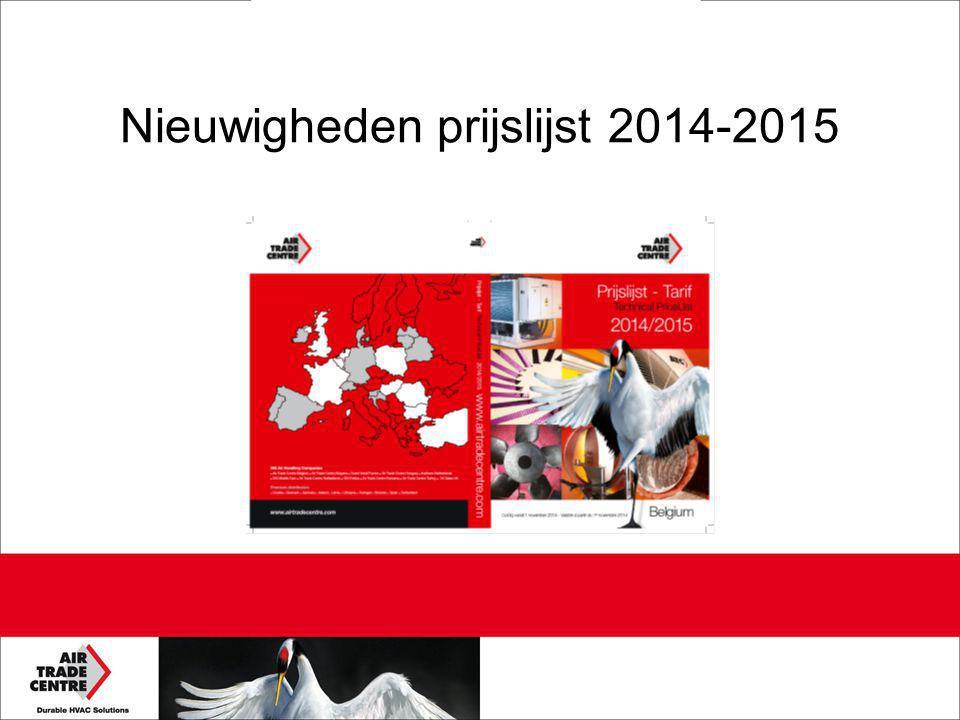 Nieuwigheden prijslijst 2014-2015
