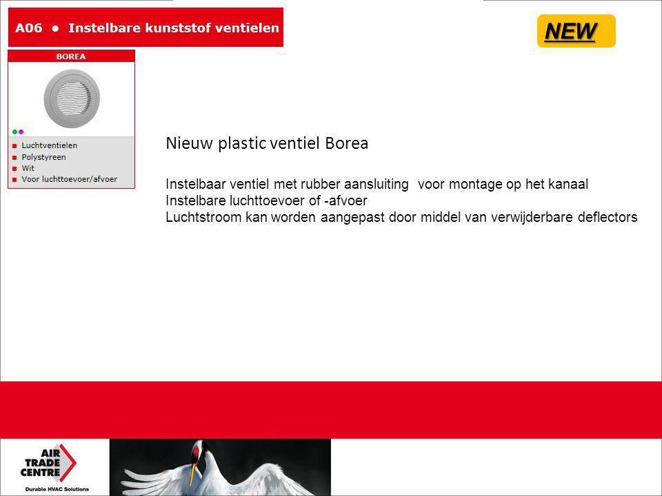 Nieuw plastic ventiel Borea Instelbaar ventiel met rubber aansluiting voor montage op het kanaal Instelbare luchttoevoer of -afvoer Luchtstroom kan worden aangepast door middel van verwijderbare deflectors NEW